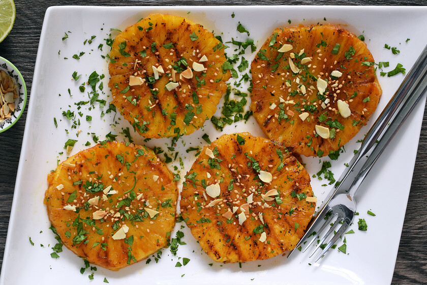 Grilled spiced pineapple.  Easy, simple and delicious cooking recipe